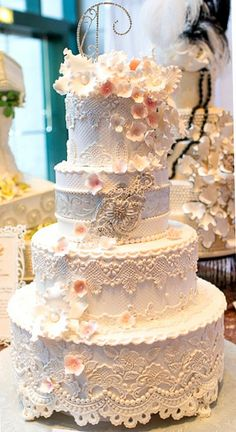Stunning! ~ All hand made and all edible! lace looking cake,just beautiful