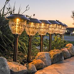 Set of 6 Copper 13 Durable Weather Resistant Solar Path Lights with Warm White LEDs Rechargeable Solar Battery Included *** Learn more by visiting the image link.