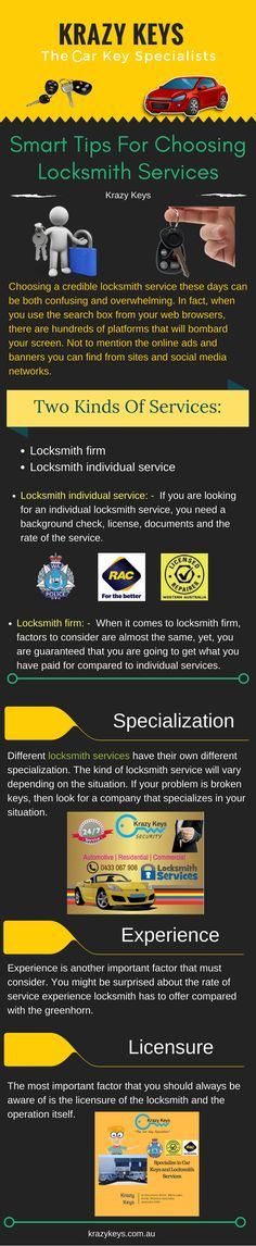 Here are few tips you should know before hiring a locksmith provider like why you should choose this locksmith company, you should know about its history, license, documents etc. and cost as well. View this visual presentation by Krazy Keys to know the tips in detail.