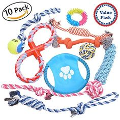 Dog Rope Toys pack of 10 Value Set, Interactive Chew Tug Toys for Small to Medium Dogs, Dental Healthy Chewing Biting Toys(10 piece pack) ** Continue to the product at the image link. (This is an affiliate link) #Dogs