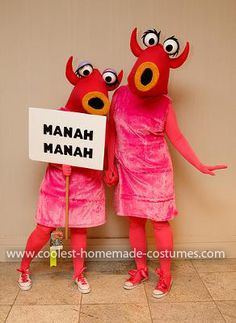 Homemade Muppet Manah Manah Couple Costume... This website is the Pinterest of costumes