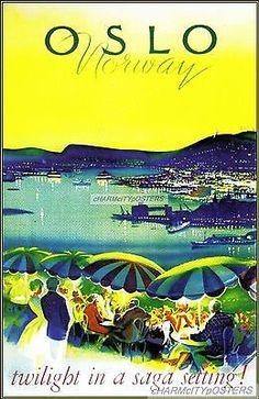 Oslo Norway 1965 Twilight Vintage Poster