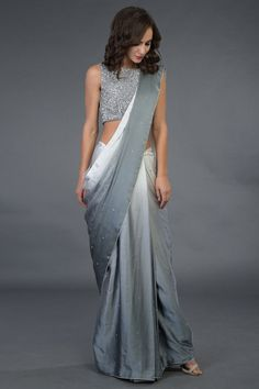 Grey Ombre Sequin Hand Embroidered Saree and Blouse - Saree Styles Drape Sarees, Saree Draping Styles, Saree Styles, Grey Saree, Purple Saree, Sarees For Girls, Sari Design, Diy Design, Modern Saree