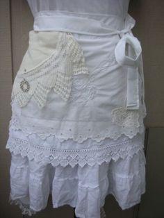 Aprons - Lace White Aprons - Aprons - Lace APRONS - Handmade Half Aprons - Shabby Chic Aprons - French Flea Market Chic Apron. $44.95, via Etsy. by carmella
