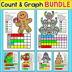 Graphing Shapes Christmas Math Bundle - Gingerbread Man &