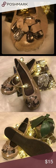 CL by Laundry Rhinestone Flats Gorgeous rhinestone flats made by CL from Laundry, shiny gold material with the rhinestones wrapped with ribbon, little wear on the inside, size 8. Shoes Flats & Loafers