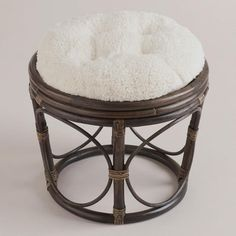 One of my favorite discoveries at WorldMarket.com: Ivory Faux Fur Papasan Stool Cushion $40 stand + $10 cushion