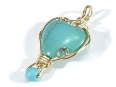 Pendants – Turquoise heart pendant – a unique product by betulek on DaWanda