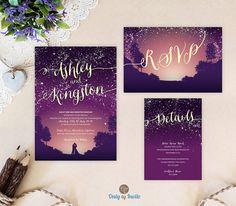 Purple starry night wedding invitation bundle  | Mountain wedding invitations printed | Cheap wedding sets: invitation, RSVP, enclosure card