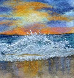 ideas for needle felted pictures Wet Felting Projects, Types Of Textiles, Felt Wall Hanging, Felt Pictures, Wool Art, Landscape Quilts, Thread Painting, Textile Artists, Anime Comics