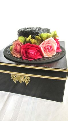 Straw Church Hat & Hat Box Black Woven Floral by swankyturtle, $30.00