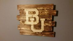 Baylor University BU rustic wood wall art