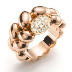 Mattioli The One ring with cabochons of rose gold spheres