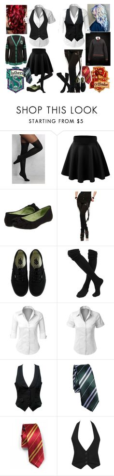 """""""580: Slytherin & Gryffindor"""" by danniikatt ❤ liked on Polyvore featuring Rare London, Blowfish, Vans, LE3NO and Forever 21"""