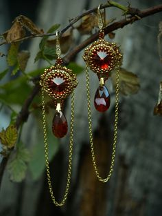 Вraided earrings  Beaded  Earrings  Swarovski by suzidesign