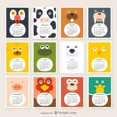 Descarga este calendario para imprimir donde cada mes está representado con una ilustración infantil. Unos simples animalitos encabezan este set de 12 imágenes vectoriales para hacer de este calendario en vectores un lindo recurso para descargar. Espero les guste el trabajo de los chicos de freepik. Saludos Calendar vector designed by Freepik