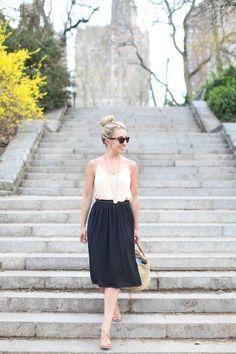 Zara tank, Express skirt, Design Darling market basket, Julie Vos necklace, Lola James bracelets, Capwell & Co earrings