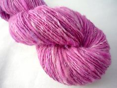 "Handspun Yarn, Thick and Thin Singles Yarn, 2.5oz ""Purple Rain"""