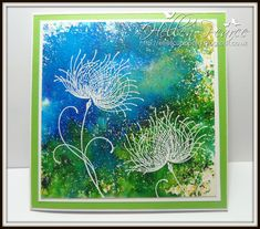 handmade greeting card ... artsy look ... emboss resist technique ... Penny Black Dreamy embossed in white ...  Brushos watercolor powder background in saturated blues and greens ...