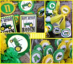 Tractor Birthday Party Package to match the green by letsPARTYon, $149.50