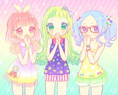 ✮ ANIME ART ✮ pastel. . .fairy kei fashion. . .colorful. . .friends. . .stars. . .ribbons. . .rainbow. . .cute. . .kawaii