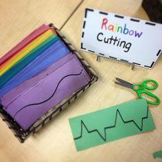 "Rainbow inspired cutting strips for fine motor 9 Likes, 1 Comments - Mrs. M Dattilo (@wonderful_wonderings) on Instagram: ""Rainbow cutting strips to sharpen our cutting skills ✂️#finemotorskills #fingergym #rainbow"""