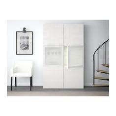 BESTÅ Combinazione con ante a vetro - bianco/Selsviken lucido/vetro smerigliato bianco - IKEA