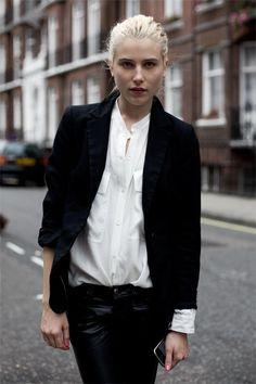 White shirt dark suit Dree Hemingway