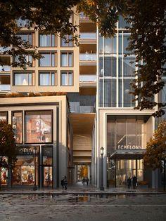Entrance Design, Facade Design, Exterior Design, Mall Facade, Shop Facade, Beautiful Architecture, Modern Architecture, Mix Use Building, Commercial Street