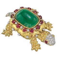 Tiffany & Co. Large Emerald Ruby Diamond Gold Turtle Brooch