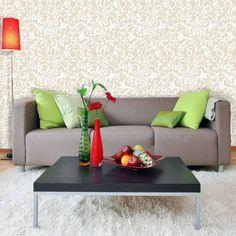 Papel de parede arabesco ramalhete em cores branco e bege 032