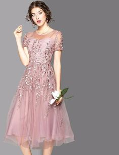 New High Quality Dresses Women Embroidery Short Sleeved Slim A-line Mid-calf Long O-neck Mother Of Bride Outfits, Mother Of Groom Dresses, Mothers Dresses, Mob Dresses, Fashion Dresses, Bridesmaid Dresses, Formal Dresses, Winter Dresses, Lovely Dresses