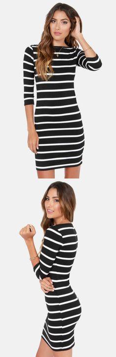 Black + White Stripes via lulus.com #lulus #holidaywear