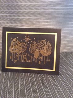 Christmas card using Stampin Up The newborn King stamp set. Embossed in gold.
