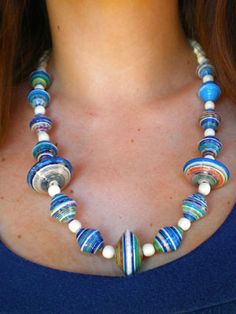 Paper beads with wood beads -- big and chunky and colorful!