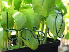 Basil wire word garden / vegetable marker. $12.00, via Etsy.