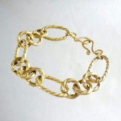 Matte gold chain bracelet Chunky gold bracelet Fashion by nikkimcl, $50.00