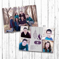 Merry Christmas with Christmas Ornaments Family Christmas Card