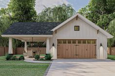This is a single story Craftsman-style 2 car garage with a covered carport. It is built on a slab foundation.The roof has an 8:12 pitch. Plan Garage, Garage Plans With Loft, Garage Floor Plans, Garage Exterior, 2 Story Garage, Craftsman Style Exterior, Garage Shop Plans, Shed With Loft, 3 Car Garage