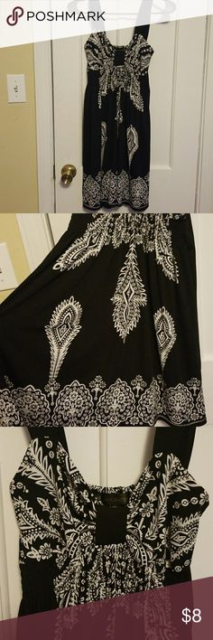 Black with White Details Summer Dress 🌞 Flowy black dress that's perfect for a summers day! The brand is Langbaoshi? I think my mom bought this is Hawaii or on a vacation somewhere. It doesnt have a size but it fits like a S/M. Very light material. Super comfy! Dresses Midi