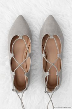 Faux Leather Pointy Toe Strappy Ballet Ballerina Lace Up Flats-Grey