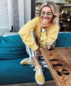 Striped pants, light yellow long sleeve t shirt, watch, yellow vans, casual spring outfit, school outfit