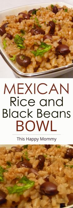Mexican Rice and Black Beans Bowl -- A one-pot vegetarian meal that's sure to impress. Made with onions, garlic, beans and onions, this tasty meal is satisfying and delicious. | thishappymommy.com