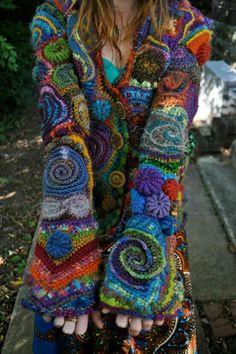 Very freeform swirly crochet jacket. Freeform Crochet, Irish Crochet, Crochet Motif, Crochet Designs, Crochet Stitches, Free Crochet, Crochet Coat, Crochet Jacket, Crochet Cardigan
