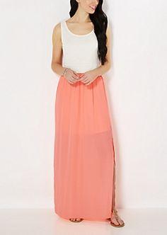 Neon Orange Smocked Maxi Dress medium