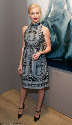 Elegant: Kate Bosworth looked lovely in a pretty patterned dress as she went along to the ...