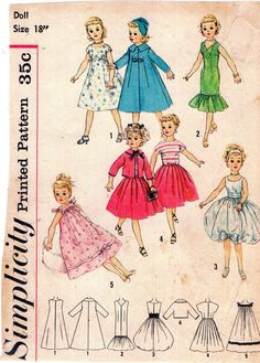 VINTAGE 1958 - 18 IN. - DOLL WARDROBE PATTERN-VERY CLASSY CLOTHES ...# 494
