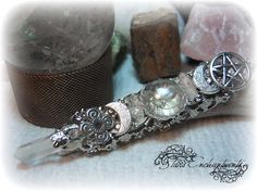 QUARTZ  Triple Moon Pentacle FINGER WAND Ring, wiccan pagan jewelry, Wire Wrap on Etsy, $29.95