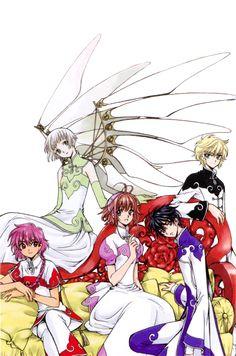 (clockwise from top left) Suu, Nokuro, Kamui, Sakura, and Hikaru - Clamp Cardcaptor Sakura, Magic Knight Rayearth, Haruhi Suzumiya, Xxxholic, Card Captor, Chibi, Manga Artist, Anime Screenshots, Manga Illustration