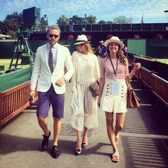 """What is all this (pun alert) racket about? Al, Stella and Dasha at Wimbledon.  @stellamccartney @mamasinthebuilding"""